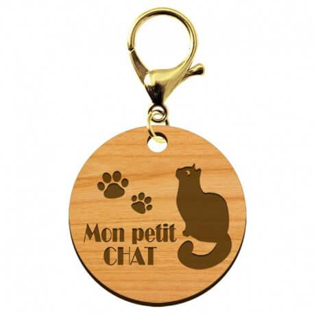 """Porte-clé chat """"Mon petit chat"""" artisanal en bois à personnaliser - macreationperso"""