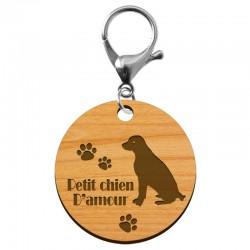 """Porte-clé chien """"Petit chien d'amour"""" artisanal en bois à personnaliser - macreationperso"""
