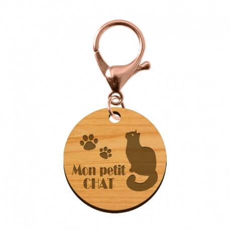 Médaille pour chat en bois à personnaliser 30 mm - macreationperso