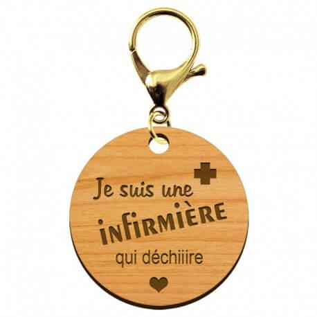 Porte-clé Infirmière personnalisable en bois - macreationperso