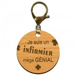 Porte-clé Infirmier personnalisable en bois - macreationperso