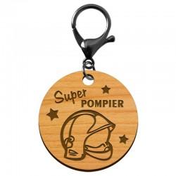 Porte-clé super POMPIER en bois à personnaliser - macreationperso