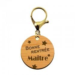 """Porte-clé Maître """"Bonne Rentrée Maître"""" en bois - 30 mm - macreationperso"""