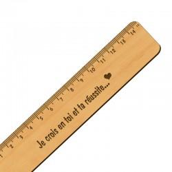 Règle personnalisé artisanal en bois - 151 x 30 mm - macreationperso