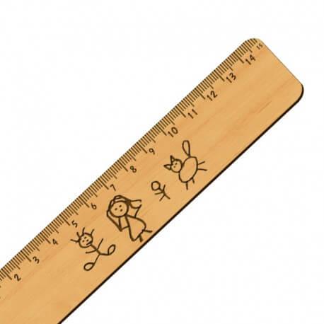 Règle personnalisé avec dessin ou écriture - Artisanale en bois - 151 x 30 mm - macreationperso