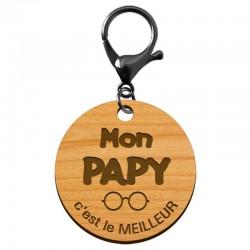 """Porte-clé cadeau PAPY personnalisable en bois """"Mon PAPY c'est le meilleur"""" - macreationperso"""