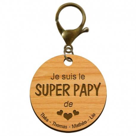 """Porte-clé Super PAPY personnalisé en bois """"Je suis le SUPER PAPY de..."""" - macreationperso"""