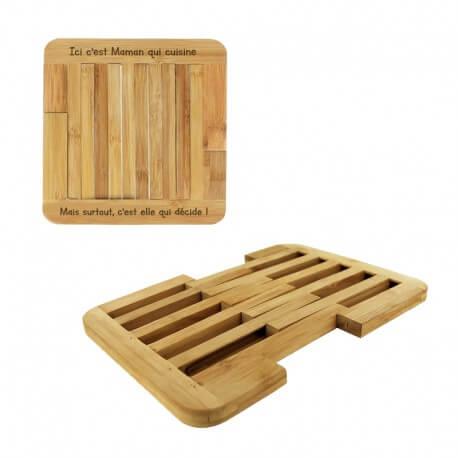 Dessous de plat extensible personnalisé en Bambou - 22 x 21.6 cm - ma creation perso