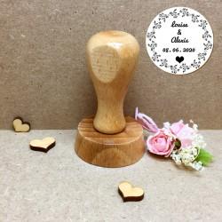 Tampon personnalisé pour Baptême ou Mariage - Tampon floral Prénom et date - macreationperso