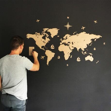 Carte du monde en bois personnalisée - macreationperso