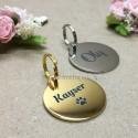 Médaille pour chien ou médaille pour chat ronde - Or et Argent - Macreationperso