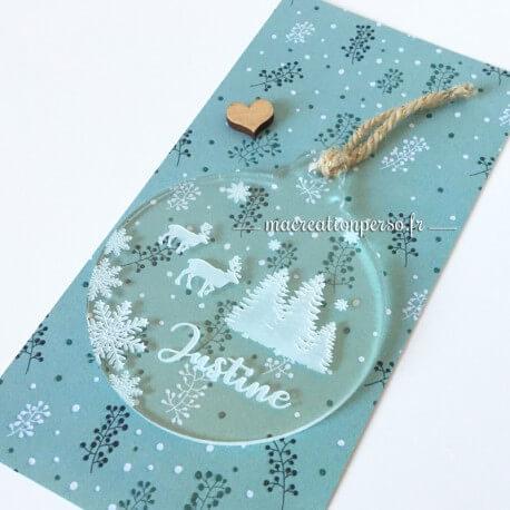 Boule de Noël Prénom personnalisée - Bleu transparente et Flocon de neige - 50 mm - ma creation perso