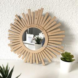 Miroir personnalisé en bois 30 cm