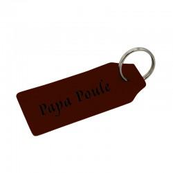 Porte-clé en cuir véritable noir à personnaliser