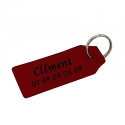 Porte-clé en cuir véritable rouge à personnaliser