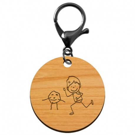 Porte-clé personnalisé en bois - 50 mm - Dessin