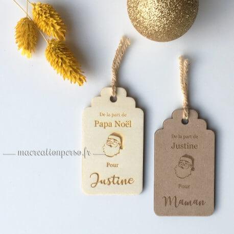 Etiquette personnalisée en bois pour cadeau de Noël - macreationperso
