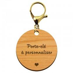 Porte-clé en bois - A personnaliser - 40 mm