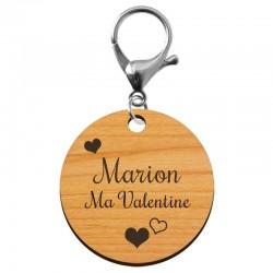 Porte-clé cadeau de Saint-Valentin en bois