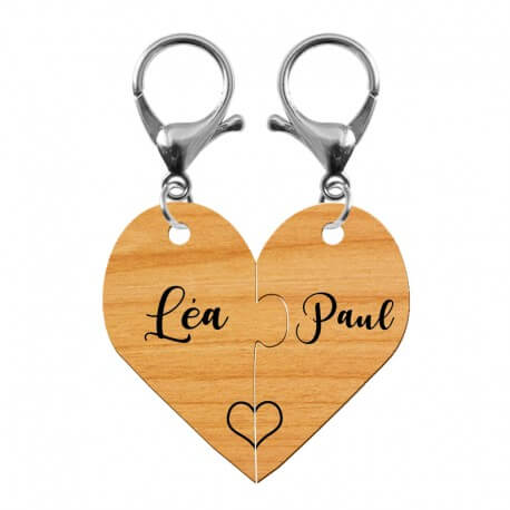 Duo de porte-clés puzzle coeur en bois personnalisé