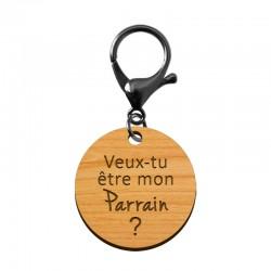 Porte-clé en bois - Veux-tu être mon Parrain?
