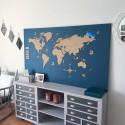 Carte du monde en bois personnalisée - 132 x 66 cm - macreationperso