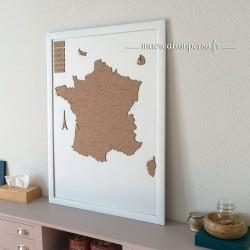 Carte de France en bois personnalisée - 60 x 60 cm