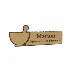 Badge en bois personnalisé - Taille au choix