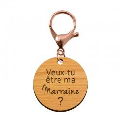 Porte-clé en bois - Veux-tu être ma Marraine