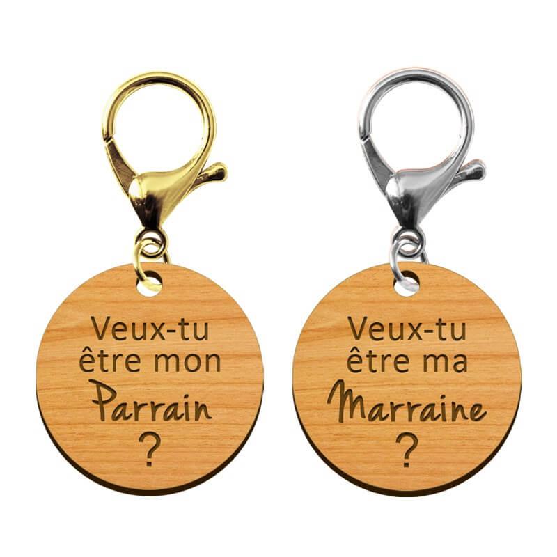 PcB4 Porte Clef en BOIS Mod Trop Chouette Parrain Cadeau Parrain Marraine Bapt/ême Communion No/ël, annonce et demande Parrain