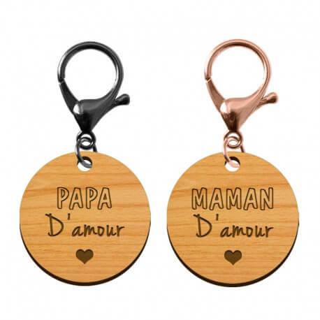 Porte-clé en bois - Papa d'amour - Maman d'amour