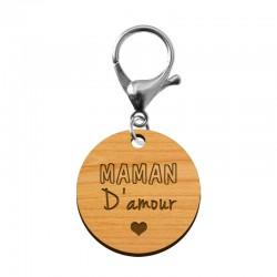 Porte-clé en bois - Maman d'amour