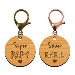 Porte-clé en bois - Super Mamie - Super Papy