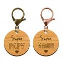 Porte-clé en bois - Super Mamie - Super Papy - macreationperso