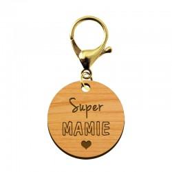Porte-clé en bois - Super Mamie