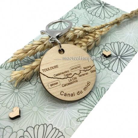 Porte-clé souvenir en bois à personnaliser Canal du midi - macreationperso