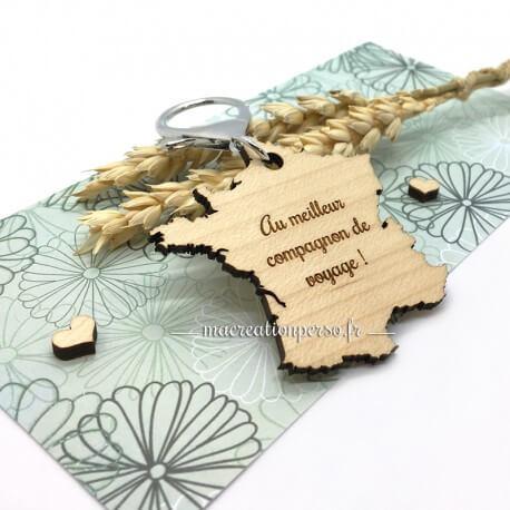 Porte-clé France en bois à personnaliser - macreationperso