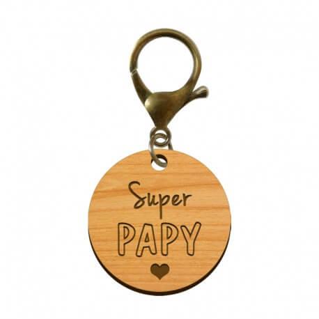 Porte-clé en bois - Super Papy
