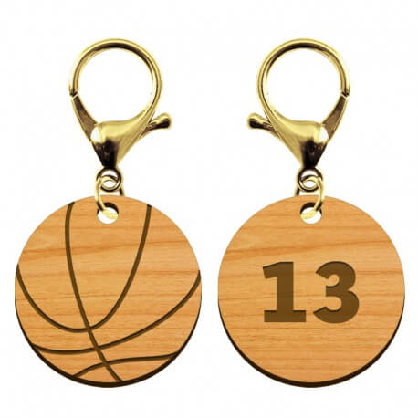 Porte-clé en bois - Ballon de basket