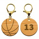 Porte-clé ballon de basket en bois à personnaliser - 30 mm - macreationperso