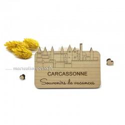 Magnet de Carcassonne en bois - Skyline Cité de Carcassonne
