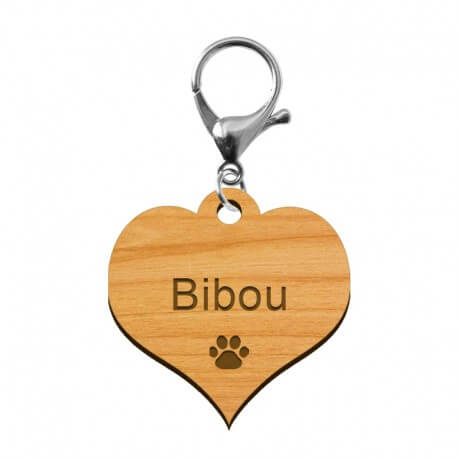 Médaille coeur à personnaliser en bois aulne - 40 x 37 mm