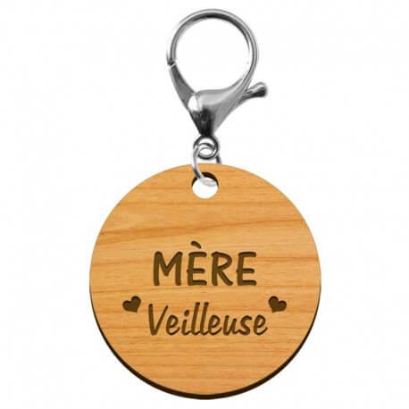 """Porte-clé en bois - Mère """"veilleuse"""" - 40 mm"""