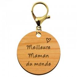"""Porte-clé en bois - Meilleure Maman du monde"""" - 45 mm - Verso à personnaliser"""