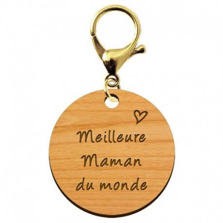 """Porte-clé en bois - Meilleure Maman du monde"""" - 40 mm - Verso à personnaliser"""