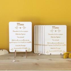 Menu gravé sur bois personnalisé - Carte menu personnalisé original - macreationperso