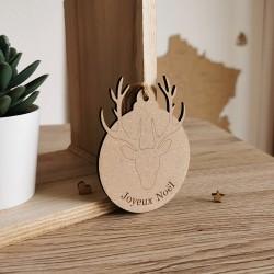 Boule de noël personnalisé bois de cerf - PLUSIEURS COLORIS macreationperso