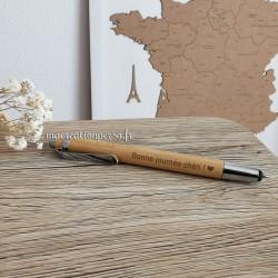 Stylo à bille en Bambou personnalisé - Encre bleue - Macreationperso