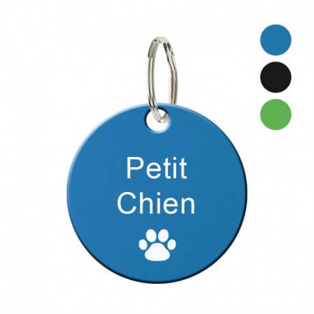 Médaille animaux en métal - Rond bleu 27 mm à personnaliser