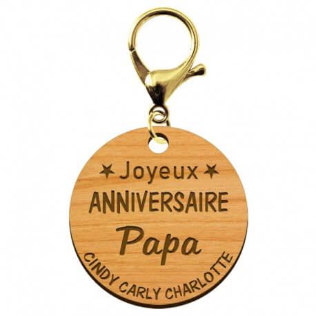 """Porte-clé """"Joyeux anniversaire Papa"""" prénoms à personnaliser - macreationperso"""